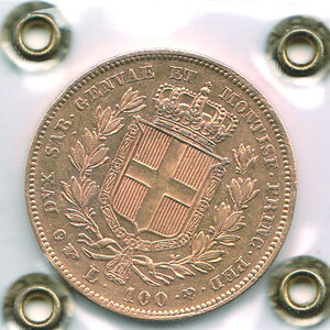 reverse: SAVOIA - Carlo Alberto (1831-1849) - 100 Lire 1840
