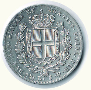 reverse: SAVOIA - Carlo Alberto - 5 Lire 1835 Ge.  r