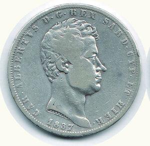 obverse: SAVOIA - Carlo Alberto - 5 Lire 1837 To.