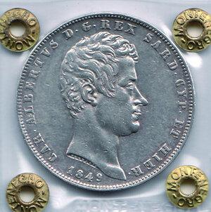 obverse: SAVOIA - Carlo Alberto - 5 Lire 1849 Ge