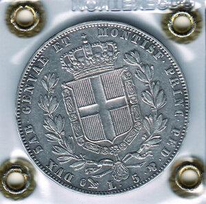 reverse: SAVOIA - Carlo Alberto - 5 Lire 1849 Ge