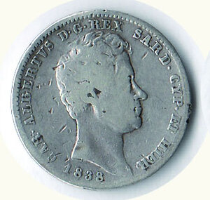obverse: SAVOIA - Carlo Alberto - Lira 1838 Ge.