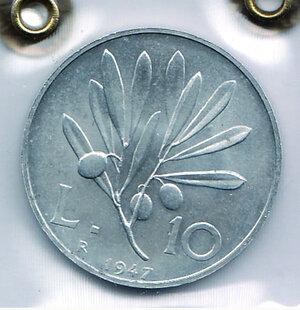 obverse: REPUBBLICA - 10 Lire 1947