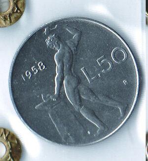 obverse: REPUBBLICA - 50 Lire 1958