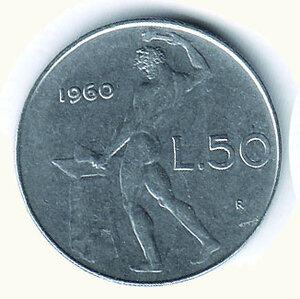 obverse: REPUBBLICA ITALIANA 50 lire 1960