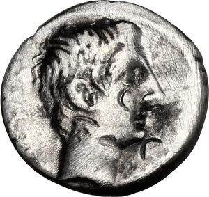 obverse: Augustus (27 BC - 14 AD).. AR Quinarius, uncertain italian mint (Brundisium and Rome?), 29-27 BC