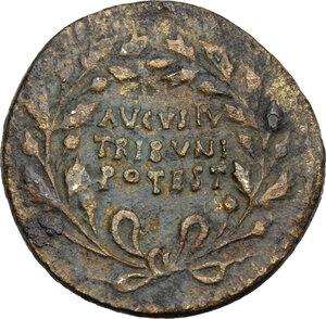 obverse: Augustus (27 BC - 14 AD).. AE Dupondius. Rome mint, T. Quinctius Crispinus Sulpicianus, moneyer. Struck 18 BC