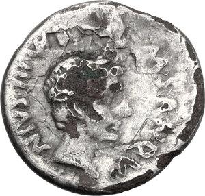 obverse: Augustus (27 BC - 14 AD).. Fourrée Denarius. Rome mint. M. Sanquinius, moneyer. Struck 17 BC