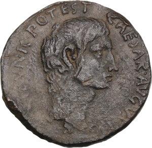 obverse: Augustus (27 BC - 14 AD).. AE As. Rome mint. Struck 15 BC. L. Naevius Surdinus, moneyer