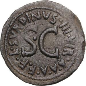 reverse: Augustus (27 BC - 14 AD).. AE As. Rome mint. Struck 15 BC. L. Naevius Surdinus, moneyer