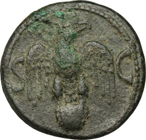 reverse: Divus Augustus (died 14 AD).. AE As, struck under Tiberius, 34-37