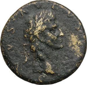 obverse: Divus Augustus (died 14 AD).. AE Sestertius, struck under Nerva