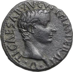 obverse: Tiberius as Caesar (4-14).. AE As, 10-11