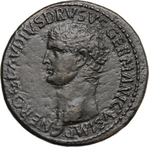 obverse: Nero Claudius Drusus, brother of Tiberius, father of Germanicus and Claudius (died 9 AD).. AE Sestertius, struck under Claudius, 41-50 AD