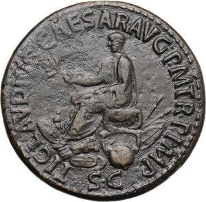 reverse: Nero Claudius Drusus, brother of Tiberius, father of Germanicus and Claudius (died 9 AD).. AE Sestertius, struck under Claudius, 41-50 AD