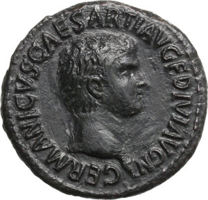 obverse: Germanicus (died 19 AD).. AE As, struck under Claudius, 50-54