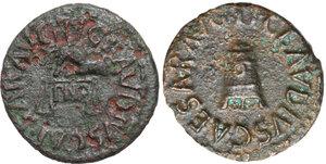 obverse: Claudius (41-54).. Lot of two (2) AE Quadrantes