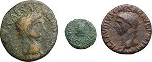 obverse: Claudius (41-54).. Multiple lot of three (3) unclassified coins:  AE Sestertius (contemporary imitation), AE As, AE Quadrans