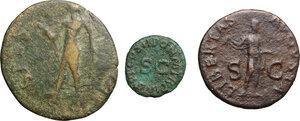 reverse: Claudius (41-54).. Multiple lot of three (3) unclassified coins:  AE Sestertius (contemporary imitation), AE As, AE Quadrans