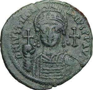 obverse: Justinian I (527-565).. AE Follis, 546-547, Theupolis (Antioch) mint