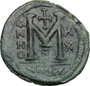 reverse: Justinian I (527-565).. AE Follis, 546-547, Theupolis (Antioch) mint