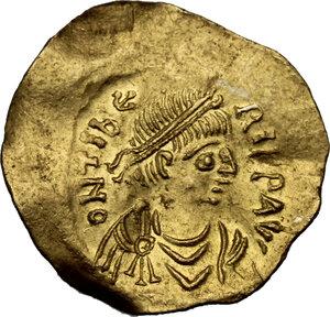 obverse: Maurice Tiberius (582-602).. AV Tremissis. Constantinople mint