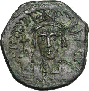obverse: Maurice Tiberius (582-602).. AE Half Follis. Constantinople mint, 2nd officina. Dated RY X(?)