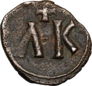 reverse: Leo V with Constantine (813-820).. AE Follis. Syracuse mint. Struck 817-820