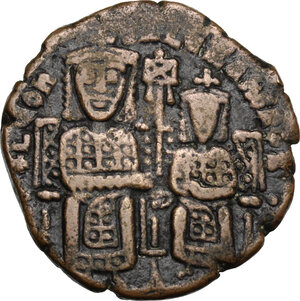 obverse: Leo VI the Wise, with Alexander (886-912).. AE Follis. Constantinople mint. Struck 886-912