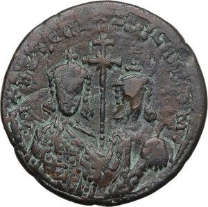 obverse: Constantine VII (913-959) and Romanus II (Augustus from 945 AD.).. AE Follis, Constantinople mint