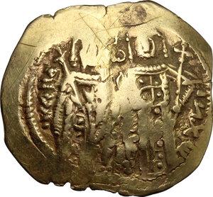 obverse: John V Palaeologus, with Anna of Savoy (Regent). (1341-1391).. AV Hyperpyron, Constantinople mint. Struck 1341-1347 AD