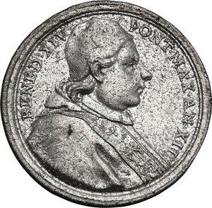 obverse: Italy .  Benedetto XIV (1740-1758), Prospero Lambertini.. Tin cast medal