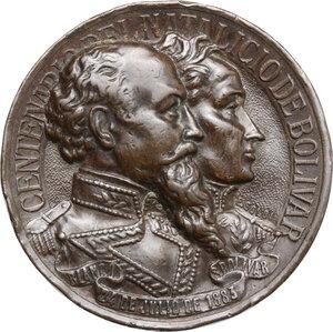 obverse: Venezuela.  Simón Bolivar and Guzmàn Blanco.. AE Medal 1883