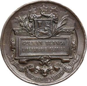 reverse: Venezuela.  Simón Bolivar and Guzmàn Blanco.. AE Medal 1883