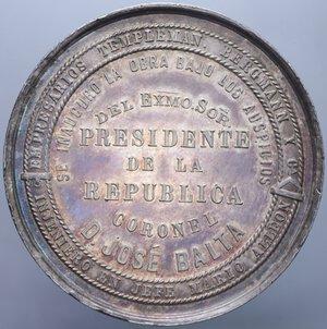 PERU  MEDAGLIA 1870 INAUGURAZIONE DEL PORTO E DELLA FERROVIA DI CALLAO AG. 70,02 GR. 50,57 MM. SPL