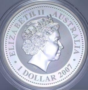 reverse: AUSTRALIA ELISABETTA II 1 DOLLARO 2008 TOPO AG. 31,11 GR. PROOF