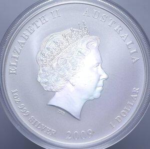 reverse: AUSTRALIA ELISABETTA II 1 DOLLARO 2009 BUE AG. 31,11 GR. PROOF