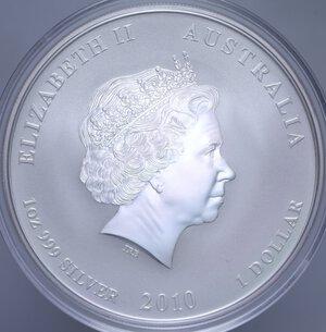 reverse: AUSTRALIA ELISABETTA II 1 DOLLARO 2010 TIGRE AG. 31,11 GR. PROOF