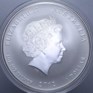 reverse: AUSTRALIA ELISABETTA II 1 DOLLARO 2012 DRAGO AG. 31,11 GR. PROOF