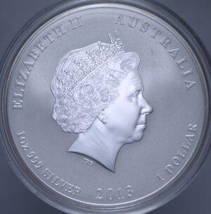 reverse: AUSTRALIA ELISABETTA II 1 DOLLARO 2013 SERPENTE AG. 31,11 GR. PROOF