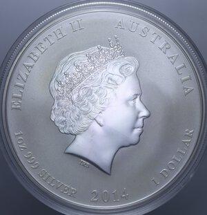 reverse: AUSTRALIA ELISABETTA II 1 DOLLARO 2014 CAVALLO AG. 31,11 GR. PROOF