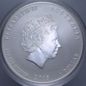 reverse: AUSTRALIA ELISABETTA II 1 DOLLARO 2015 CAPRA AG. 31,11 GR. PROOF
