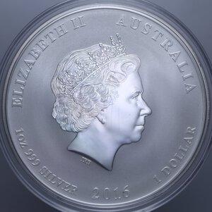 reverse: AUSTRALIA ELISABETTA II 1 DOLLARO 2016 SCIMMIA AG. 31,11 GR. PROOF