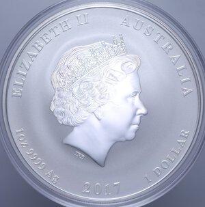 reverse: AUSTRALIA ELISABETTA II 1 DOLLARO 2017 GALLO AG. 31,11 GR. PROOF