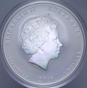reverse: AUSTRALIA ELISABETTA II 1 DOLLARO 2018 CANE AG. 31,11 GR. PROOF