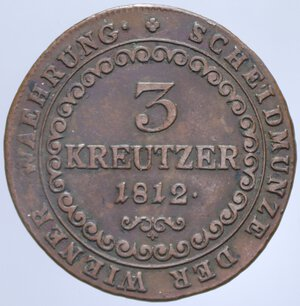 reverse: AUSTRIA FRANCESCO II 3 KREUZER 1812 B 11,17 GR. qBB/BB+