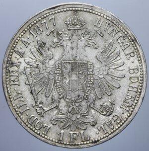 reverse: AUSTRIA FRANCESCO GIUSEPPE I 1 FIORINO 1877 AG. 12,38 GR. SPL-FDC