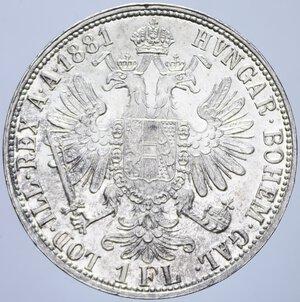reverse: AUSTRIA FRANCESCO GIUSEPPE I 1 FIORINO 1881 AG. 12,37 GR. qFDC/FDC