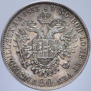 reverse: AUSTRIA FRANCESCO GIUSEPPE I 20 KREUZER 1853 A AG. 4,33 GR. qFDC