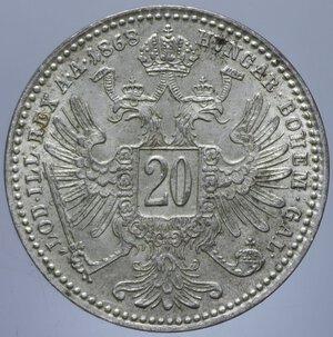 reverse: AUSTRIA FRANCESCO GIUSEPPE I 20 KREUZER 1868 A AG. 2,63 GR. qFDC/FDC